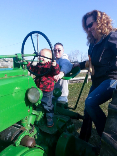 Family Playing on Tractor